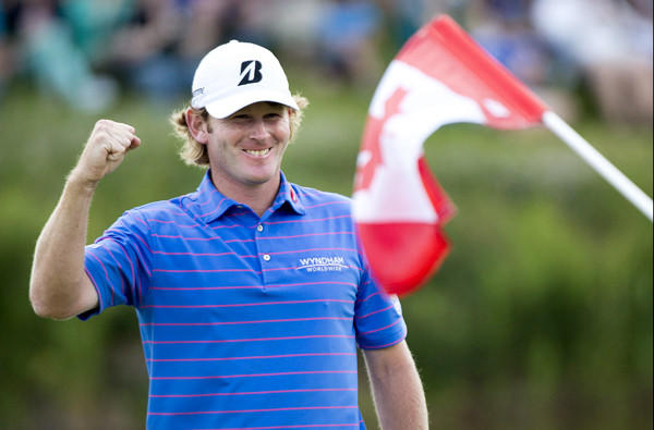 Brandt Snedeker celebrates after clinching a victory in the Canadian Open at Glen Abbey Golf Club on Sunday.