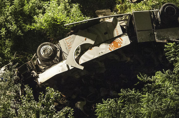 View of the bus that crashed on July 28, 2013 on the road between Monteforte Irpino and Baiano, southern Italy.