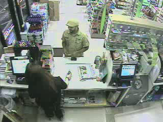 This frame from a surveillance camera shows the suspect police are seeking in connection with the robbery of a Cumberland Farms in Willimantic.