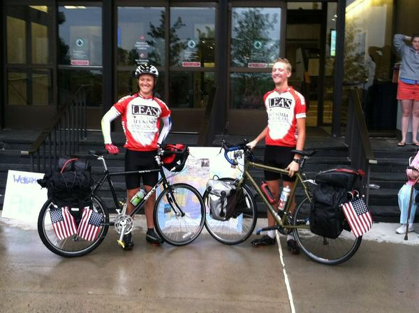 Dan Beauvais and Pat Field, a dental and medical student at UConn, rode their bikes across the country to raise money.