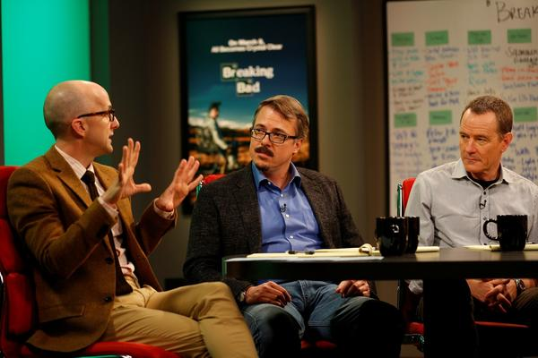 "From left to right: Jim Rash, host of ""The Writers' Room,"" interviews ""Breaking Bad"" creator Vince Gilligan and star Bryan Cranston."