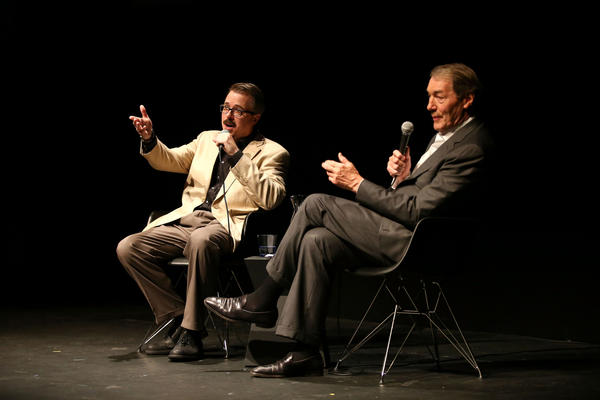 Vince Gilligan, left, sat for a conversation with Charlie Rose to talk about Walt's transformation during 'Breaking Bad.'