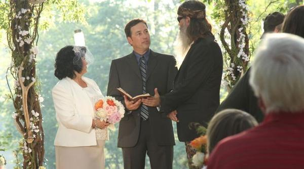 """Duck Dynasty"" returns Aug. 14 with new cast member Alan Robertson officiating as his parents, Phil Robertson and Miss Kay, renew their wedding vows."