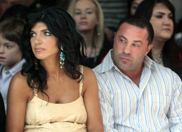 """Teresa Giudice, left, and husband Giuseppe """"Joe"""" Giudice, stars of """"The Real Housewives of New Jersey,"""" have been charged in a 39-count indictment."""