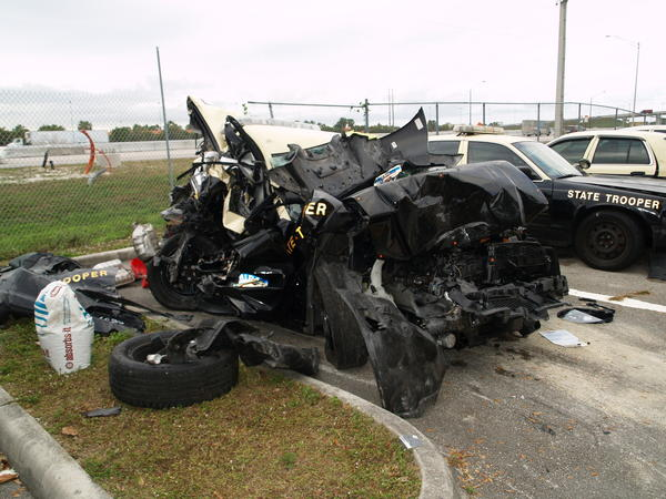 What's left of the patrol car once driven by Florida Highway Patrol Trooper Felecia A. Andrews.