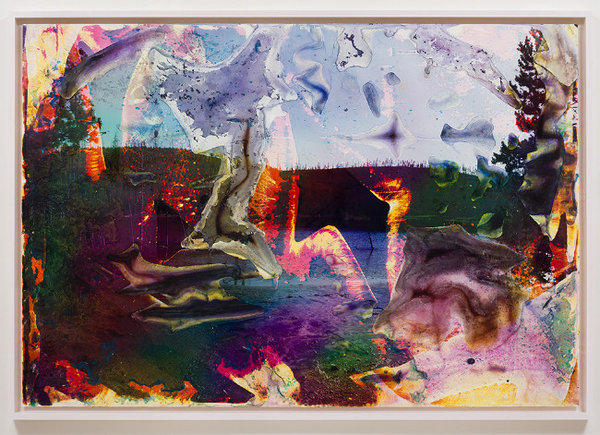 "Matthew Brandt, ""Rainbow Lake WY 1,"" 2013, c-print soaked in Rainbow Lake water, 72 x 105 inches."