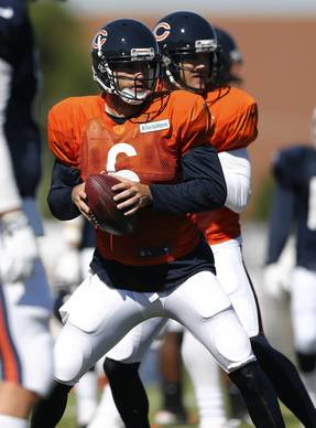 Bears' Jay Cutelr and Josh McCown during training camp