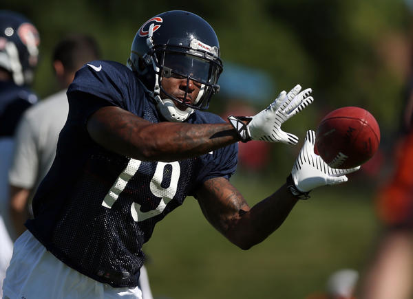 Bears wide receiver Joe Anderson training camp at Olivet Nazarene University in Bourbonnais on Monday.