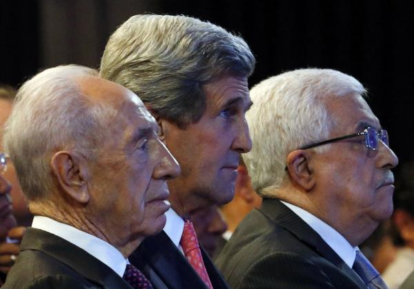 Secretary of State John Kerry, seen above flanked on his right by Israeli President Shimon Peres and on his left by Palestinian President Mahmoud Abbas, has made resuming Mideast peace negotiations a top priority.