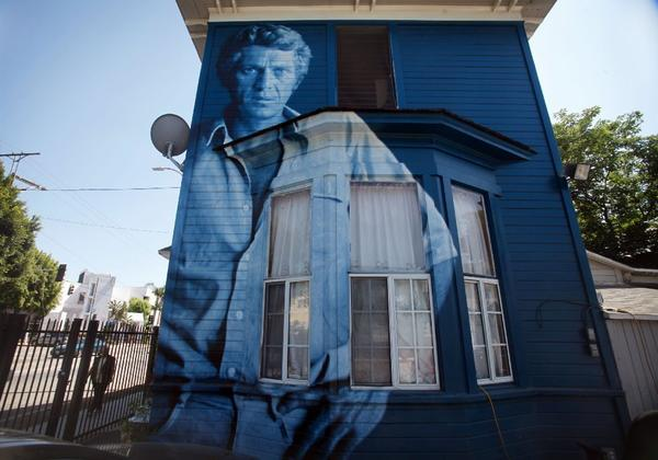 "Since 2002, the city of Los Angeles has imposed a ban on all mural painting on private buildings. Above, Kent Twitchell's ""Steve McQueen Monument."""