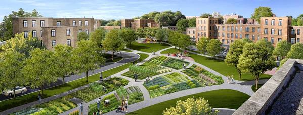 The Chicago Housing Authority proposal for the Lathrop Homes site includes maintaining some of the landscaping and adding retail space to a complex built in the 1930s.
