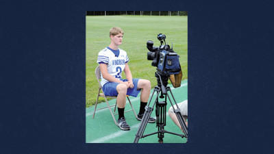 Windber's Gray Bryan speaks with a reporter during WestPAC football media day on Monday in Portage.