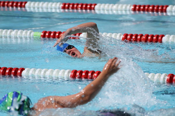 Levi Scepaniak of the Aberdeen Swim Club competes in the boys' 9-10 50-meter freestyle on Sunday at the South Dakota Long Course State Championship Swim Meet at the Hillcrest Aquatic Center in Brookings. Brookings Register Photo by Troy Maroney