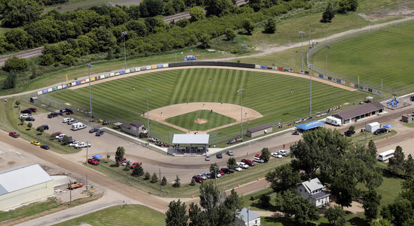 An aerial view of Bob Wiley Field in Webster, which is hosting the 2013 American Legion Baseball State B Tournament, but did not host the 1948 state tourney that also was in Webster. American News Photo by John Davis