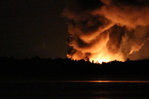 Photo of Blue Rhino gas plant explosion seen from across Lake Dora in Tavares, Fla. on July 29, 2013.