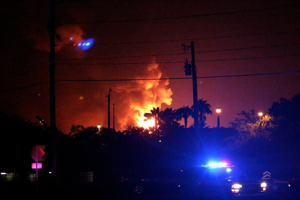 Photo of Blue Rhino gas plant explosion seen from near Tavares Middle School in Tavares, Fla. on July 29, 2013.