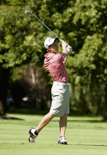 Cole Miller of Blue Ridge Country Club watches his approach shot on the fifth hole.
