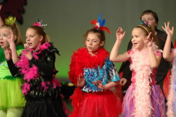 """Elementary students Vela Wolniewicz (from left), Elizabeth Armstrong, Isabella Miller and Sadie Liddy perform in Harbor Springs's """"Seussical."""""""