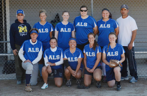 ALS won the Petoskey Womens Softball League regular season title, finishing with an 8-2 record. ALS will face the Petoskey Blaze in the leagues tournament final game at 6:30 p.m. Wednesday, July 31, at Bayfront Parks Ed White Field. Team members are front (from left) Stacey Barber-Walker, Lindsay Clemens, Marlene Gasco, Heather Gosciak, Katie Hybl; Back, coach Tom Clemens, Emme Williams, Leah Kelly, Kristi Lewis, Hannah Hybl and coach Bob Williams. Absent, Sue Gasco, Andi Gasco, Jade Kiogima, Ally Sobeck, Casie Parker and Liz Shaw.