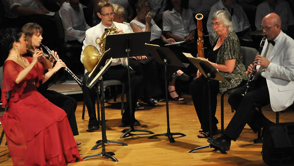 The Bay View Wind Quintet, consisting of (from left) Donna Shin, Sara Fraker, Aaron Brant, Jill Marderness and Jeremy Reynolds, plays most Sunday nights at Bay View.