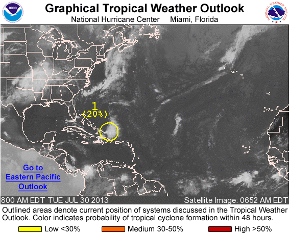 Forecasters give the remnants of Tropical Storm Dorian only a 20 percent chance of regenerating into a tropical cyclone.