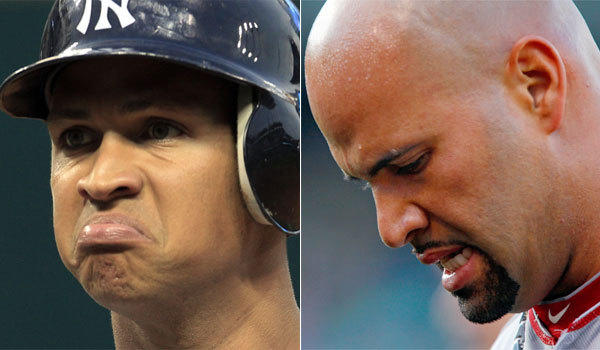 The New York Yankees' Alex Rodriguez, left, and the Angels' Albert Pujols have long-term contracts their teams might be regretting at this point.