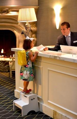 The Galleria Park Hotel in San Francisco welcomes children checking in to the family's room.