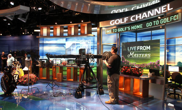 "Crew members work in the studio during the live broadcast of ""Live from The Masters,"" at the Golf Channel's Orlando headquarters, near International Drive."
