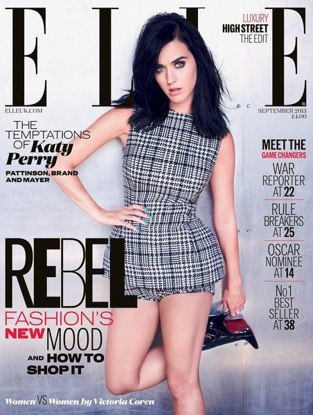 Katy Perry talks about Robert Pattinson, Kristen Stewart and John Mayer in the September 2013 issue of Elle UK.