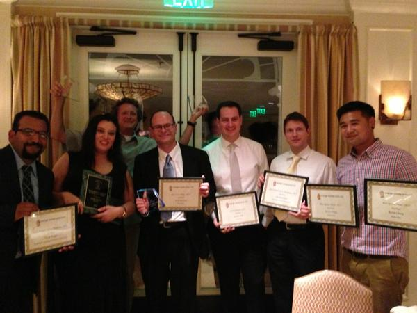 2012 OC Press Club award winners, from left: Steve Virgen, Mona Shadia, Don Leach, John Canalis (a stand-in for photographer Scott Smeltzer), Bradley Zint, Michael Miller and Kevin Chang.