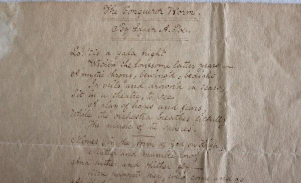 "This copy of Edgar Allan Poe's ""The Conqueror Worm,"" handwritten and signed by the author, sold for $300,000"