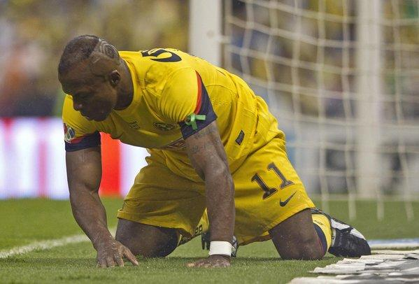 "Christian ""Chucho"" Benitez reacts after missing a chance to score during a match between his America team and Cruz Azul in Mexico City."