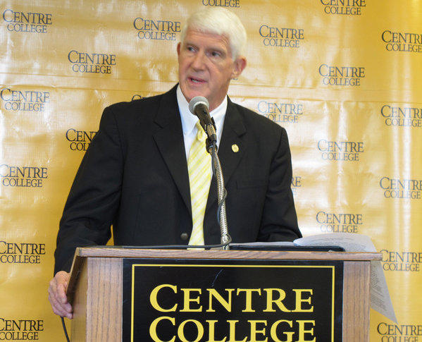 Centre College President John A. Roush announces that the tiny liberal arts school in rural Kentucky has received a $250-million gift.