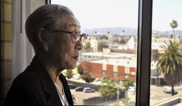 "Bok Dong Kim, a former Korean WWII ""comfort woman,"" tells her story of how she was forced into being a sex slave for the Japanese Imperial Army from her hotel room in Koreatown on Monday."