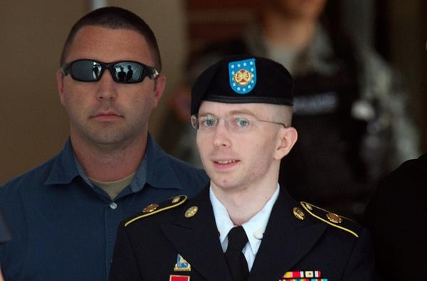 Pvt. Bradley Manning leaves a military court facility at Fort Meade, Md., after hearing the verdict in his trial on July 30.