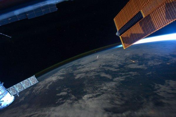 Astronaut Ron Garan caught this picture of a Perseid meteor from aboard the International Space Station in 2011.