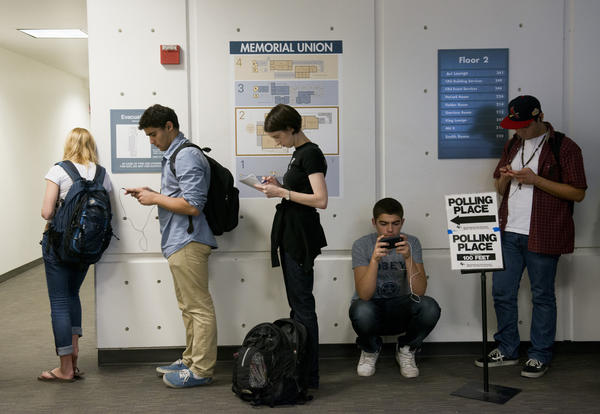 UC Davis students wait in line to vote in the November 2012 election at a polling place set up on campus.