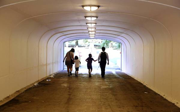 An underpass leading to Promontory Point was painted before the George Lucas-Mellody Hobson wedding celebration last month and the Chicago Park District billed the couple's party planner for the work.