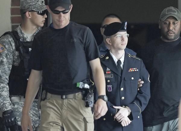 Army Pfc. Bradley Manning leaves the courthouse at Ft. Meade, Md., after the judge rendered her verdict. His sentencing hearing is expected to begin Wednesday.