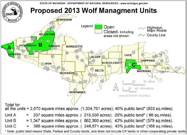 The proposed 2013 wolf hunt will take place in three areas in Michigan's Upper Peninsula.