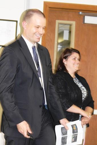 John Filippi, assistant principal at Caruso Middle School, and Angela Morretti, assistant principal at Shepard Middle School.
