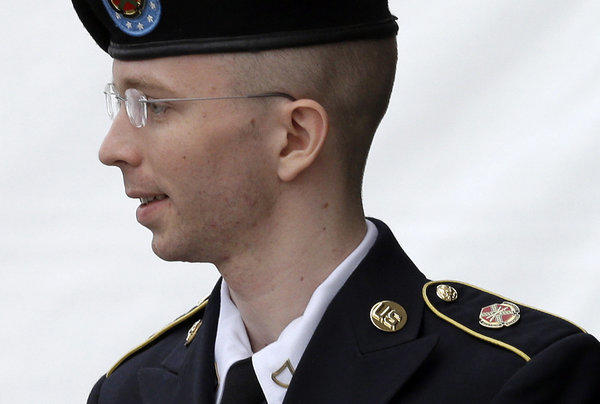 Army Pfc. Bradley Manning outside the courthouse at Ft. Meade, Md.