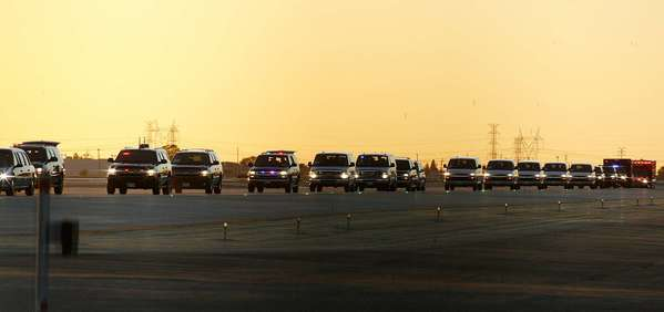The presidential motorcade escorts President Obama at Bob Hope Airport Oct. 24, 2012 while en route to the NBC studio lot.