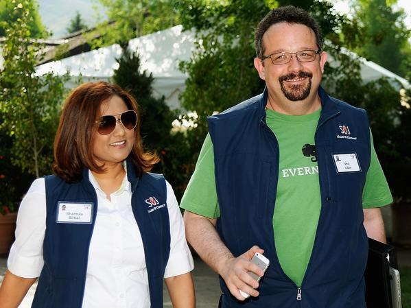 Evernote founder Phil Libin, right, and his wife, Sharmila Birbal, attend the recent Allen & Co. conference in Sun Valley, Idaho.