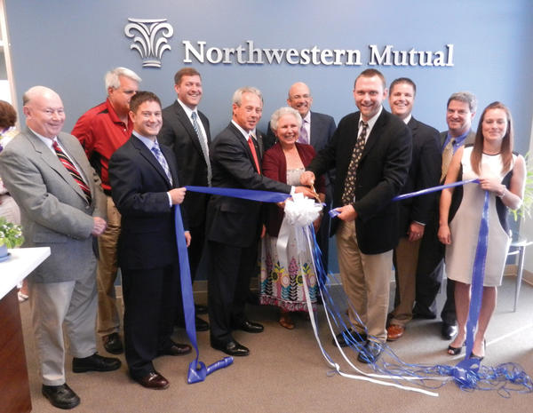Celebrating the opening of the Northwestern Mutual office at 1165 Imperial Drive, Suite 100, in Hagerstown recently are, from left, Hagerstown City Councilman Donald Munson; Councilman Martin Brubaker; Mark Murphy, Northwestern Mutual; Tim Procita, financial adviser; Ed Lough, partner; Diana Modelski, field representative for U.S. Rep. John Delaney, D-Md.; Alan Levin, partner; Hagerstown Mayor David S. Gysberts; John Schreiver, financial adviser; Brien Poffenberger, president of the Hagerstown-Washington County Chamber of Commerce; and Brandy Kendall, Northwestern Mutual.