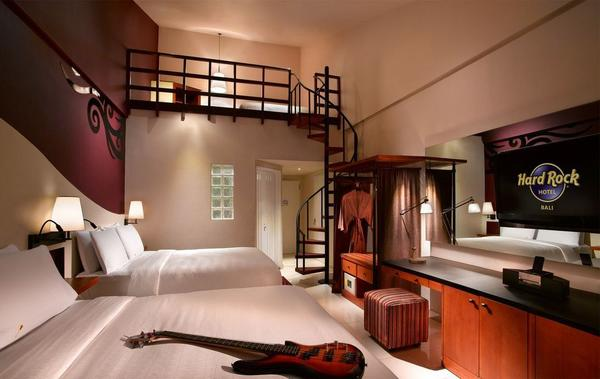 A room at the Hard Rock Hotel Bali, one of the brand's 17 hotels worldwide. The company will enter the European hotel market with a site in Ibiza, Spain, that's scheduled to open next May.