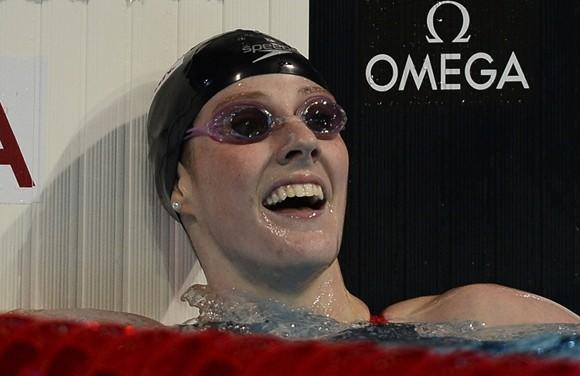 A tired but happy Missy Franklin after winning the 200 freestyle Wednesday at the World Championships in Barcelona.  (Pierre-Philippe Marcou / AFP / Getty Images)