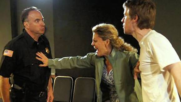 "Nancy (Jacqueline Grandt, center), Tom (Tommy Lee Johnston, left) and  Jacob (Aaron Kirby, right) in ""The Beautiful Dark."""