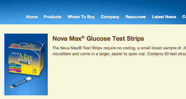 Up to 62 million glucose test strips were recalled to due a defect that causes the strips to show an inaccurate high sugar level, the U.S. Food and Drug Administration said Wednesday. Above, a screen grab of one of the recalled products from the Nova Diabetes Care website.