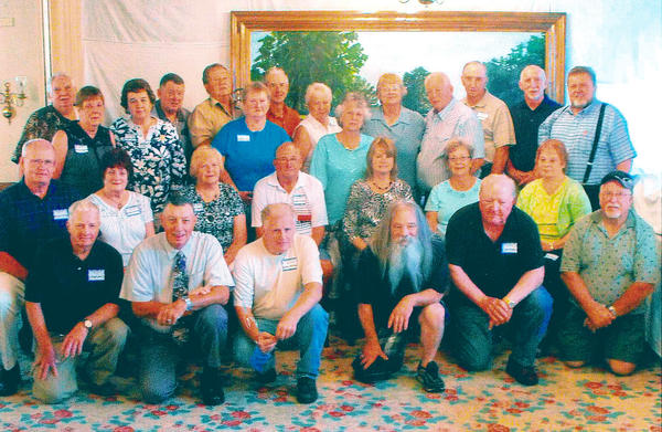 On July 12, the Hancock High Class of 1963 held its 50th class reunion at the Park-N-Dine Restaurant in Hancock. After a buffet dinner, old friendships were renewed and a good time was had by all who attended. Front row, from left, Ralph Hull, Carl Bivens, James McCarty, John Dyer, Dale Conley and Charles Diehl. Second row, Warren White, Dorothy Hovermale, Carole Swope, Rodger Lanehart, Norma Jean Carson, Nancy Schriever and Barbara Hewett. Third row, Marion Hovermale, Ruthie Divel, Harriet Yost, Linda Hull and Donald Snyder. Back row, John Robinson, Ralph Funk, Ronald Hinckle, Carl Pelton, Betty Hensley, Emeline Golden, Gary Wills, Edwin Burke and Lynn Singleton.
